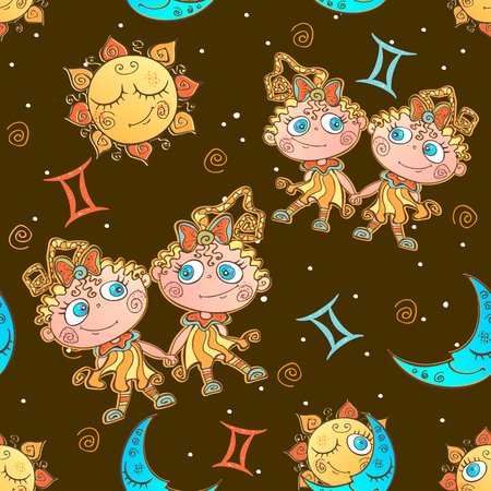 A fun seamless pattern for kids. Zodiac sign Gemini. Vector. Banque d'images - 124892376