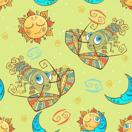 A fun seamless pattern for kids. Zodiac sign Cancer. Vector. Banque d'images - 124892405