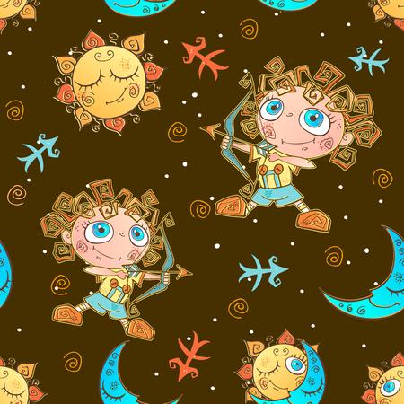 A fun seamless pattern for kids. Zodiac sign Sagittarius. Vector. Ilustração