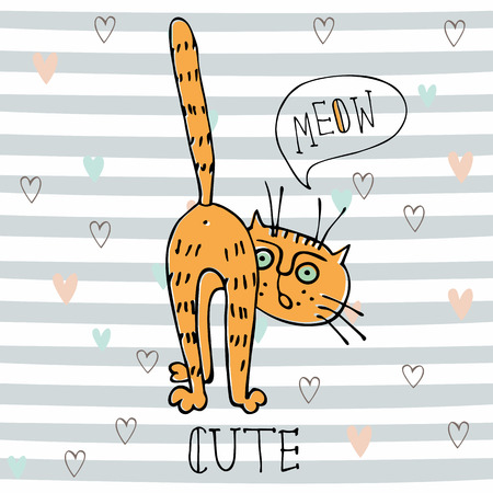 Red funny cat in cute style on striped background. Vector. Illustration