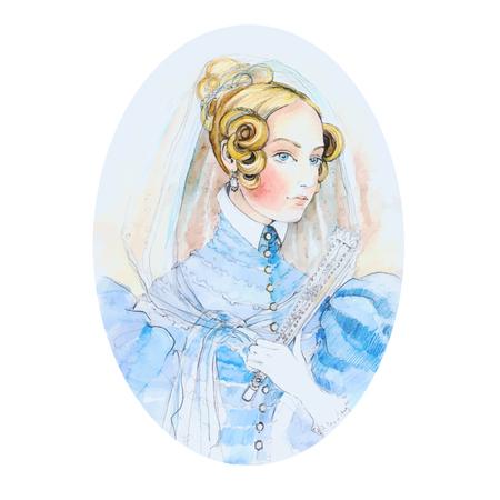 Vintage lady watercolor portrait. Vector illustration. Beautiful watercolor portrait of a girl from the past. Ilustração