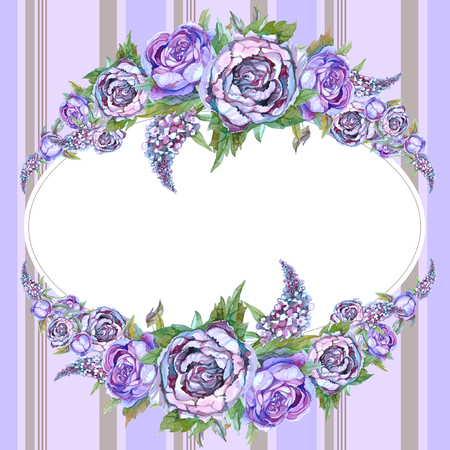 Oval frame with watercolor flowers. Peonies of lilacs. Garland of flowers. Wedding invitation. Postcard.