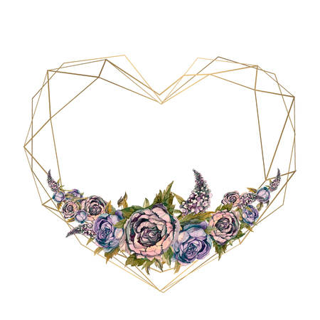The frame is the heart of watercolor flowers. Reklamní fotografie