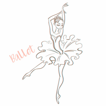 Girl ballerina. Ballet. Logotype Dancer Vector illustration 일러스트