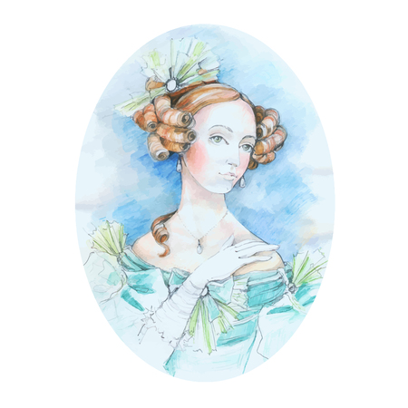 Vintage lady watercolor portrait. Vector illustration. Beautiful watercolor portrait of a girl from the past