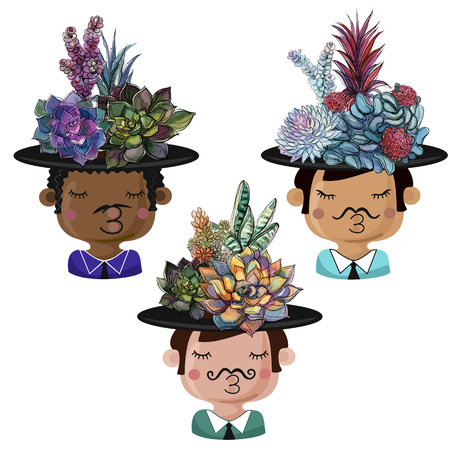 Set of funny pots in the form of boys with bouquets of succulents Banque d'images