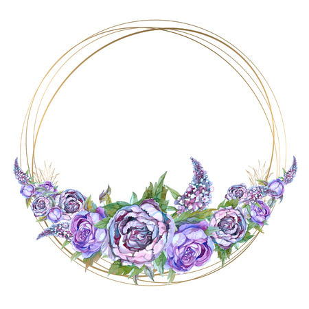 Round gold frame with watercolor  purple flowers. Garland of peonies of roses and lilacs.
