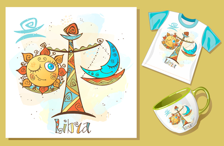Children's horoscope icon. Zodiac for kids. Libra sign . Vector. Astrological symbol as cartoon character. Banque d'images - 124892424
