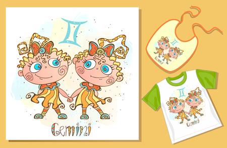 Childrens Zodiac. Gemini sign . Examples of application on t-shirt and bib. Vector. Ilustração