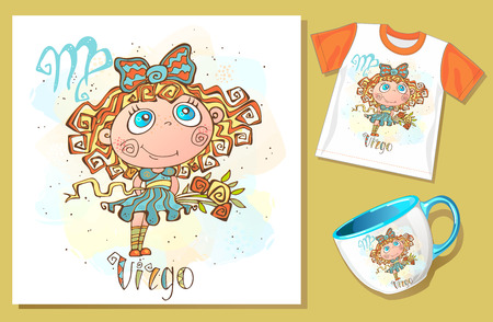 Children's zodiac. Deva. Application examples on t-shirt and mug. Vector. Banque d'images - 124892454