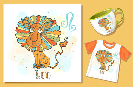 Children's Zodiac. Lion sign. Application examples on t-shirt and mug. Vector. Banque d'images - 124892467