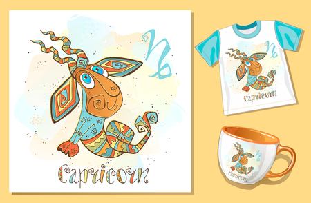 Childrens horoscope icon. Zodiac for kids. Capricorn sign . Vector. Astrological symbol as cartoon character.