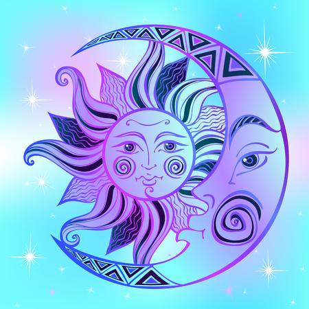 The moon and the sun. Ancient astrological symbol. Engraving. Boho Style. Ethnic. The symbol of the zodiac. Mystical. Vector Illusztráció