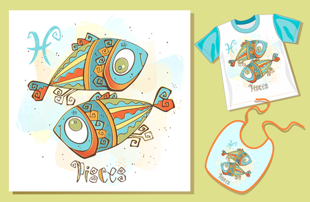 Childrens Zodiac. Pisces.  Examples of application on t-shirt and bib. Vector.