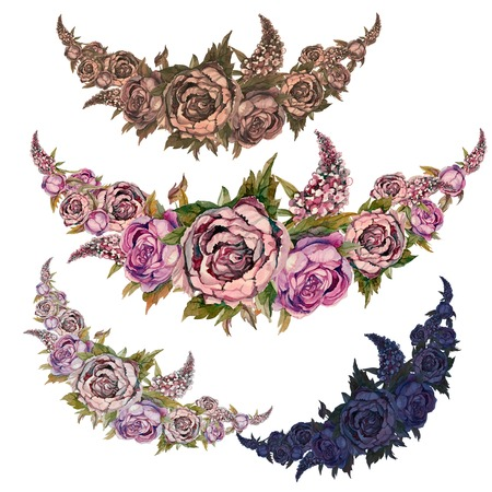 Set of watercolor garlands of flowers of peonies of roses and lilacs.