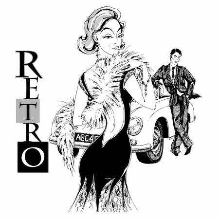 Elegant lady and gentleman in retro style. Car. Graphics. Vector Vektoros illusztráció