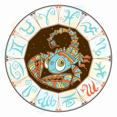 Children s horoscope icon. Zodiac for kids. Scorpio sign . Vector. Astrological symbol as cartoon character. Illusztráció