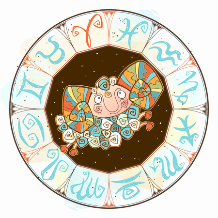 Children s horoscope icon. Zodiac for kids. Aries sign . Vector. Astrological symbol as cartoon character. Vector Illustration