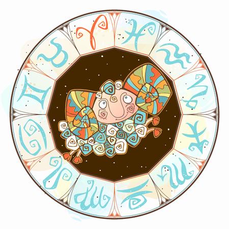 Icona dell'oroscopo dei bambini. Zodiaco per bambini. Segno dell'Ariete. Vettore. Simbolo astrologico come personaggio dei cartoni animati. Vettoriali