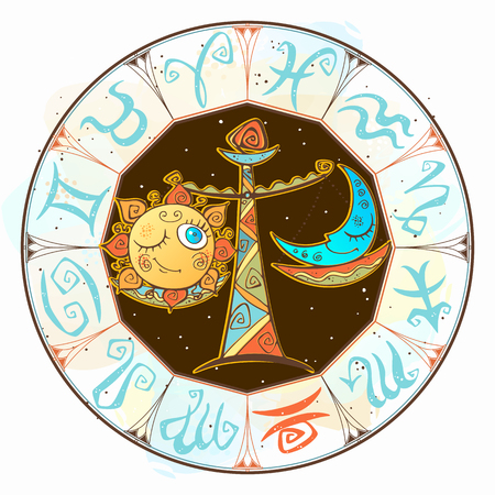Children s horoscope icon. Zodiac for kids. Libra sign . Vector. Astrological symbol as cartoon character