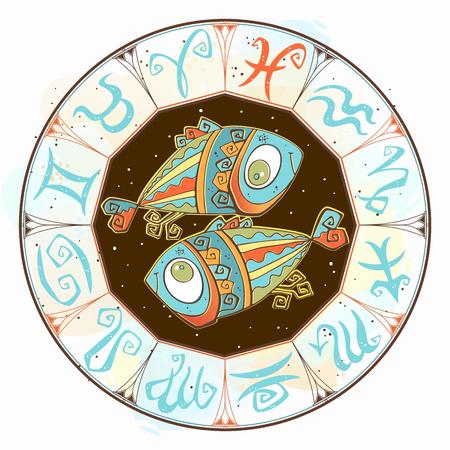 Horoscope for children sign Pisces in the zodiac circle. Vector. Illusztráció