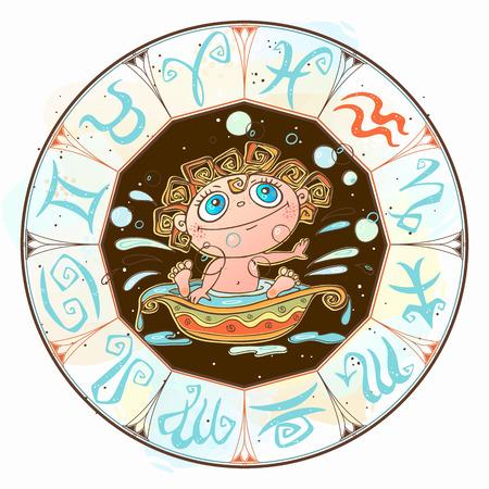 Zodiac for kids. Aquarius sign  Vector