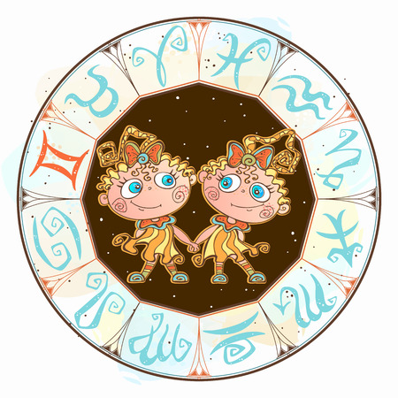 Horoscope for children sign Gemini in the zodiac circle. Vector. Ilustração