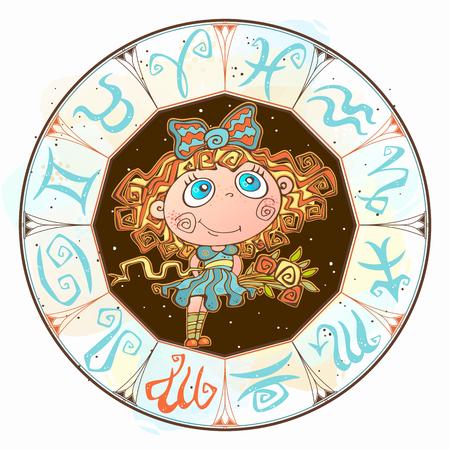 Horoscope for children sign Virgo in the zodiac circle. Vector. Illusztráció