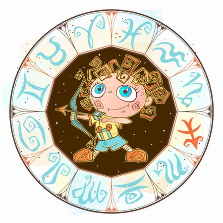Zodiac for kids. Sagittarius Cute style Vetores