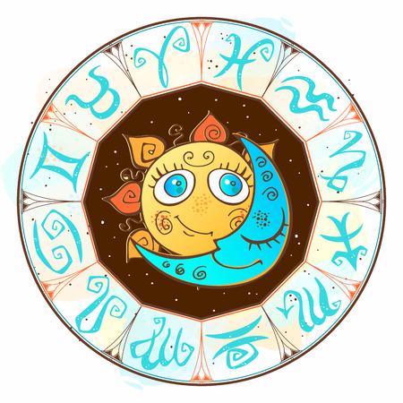 Zodiac.  Astrological symbol. Horoscope. The sun and the moon. Astrology Mystical Vector