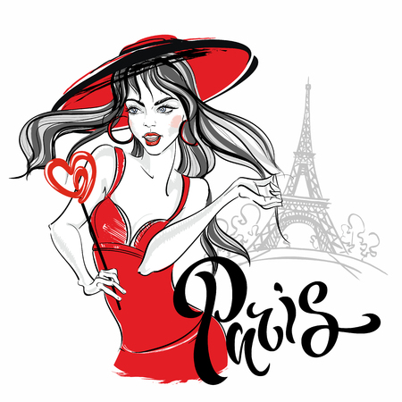 Girl model in Paris against the Eiffel tower. Lettering. Vector. Ilustracja