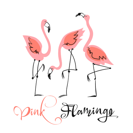 Pink flamingo. Fun illustration in a cute style. Summer motifs.  Vector.