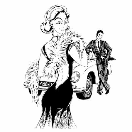 Elegant lady and gentleman in retro style.