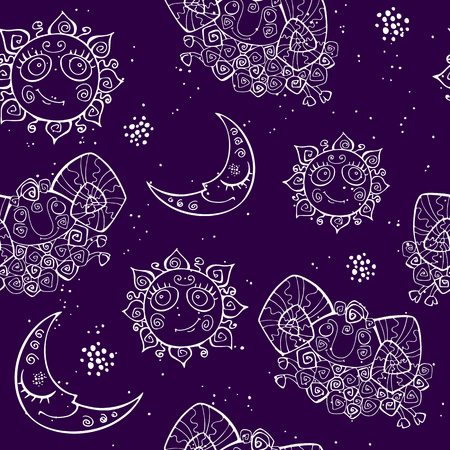 Seamless pattern. The suns a month and a little lamb. Aries sign Ilustrace