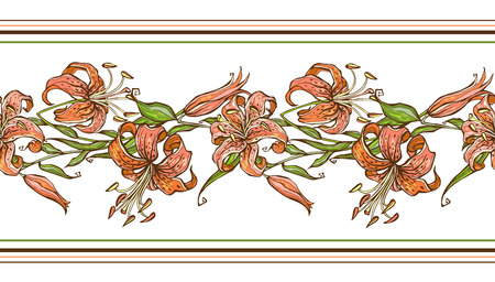 Tiger lily.Seamless pattern.