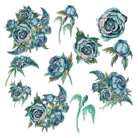 Set of delicate watercolor flowers. Roses peonies lilacs. Bouquets and individual flowers for decoration. Turquoise Reklamní fotografie