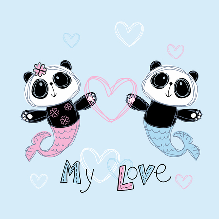 Loving mermaid Panda. Boy and girl. Ilustrace
