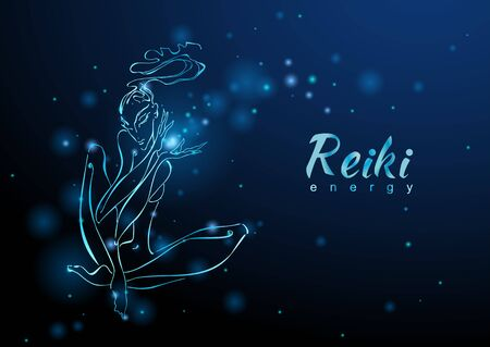 The Reiki Energy. The girl with the flow of energy. Meditation. Alternative medicine. Esoteric.