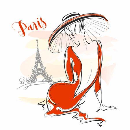Elegant girl in a hat in Paris. Stylish model.