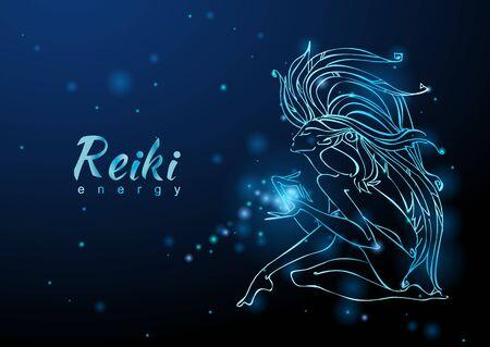 The Reiki Energy. The girl with the flow of energy. Meditation. Alternative medicine.