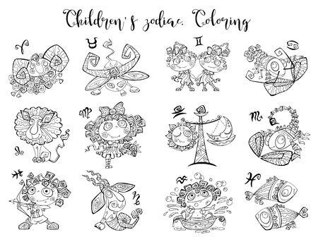Zodiac signs for children. Ilustrace