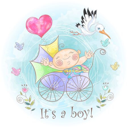 Baby boy in the stroller. I was born. Baby shower. Vector. Watercolor.
