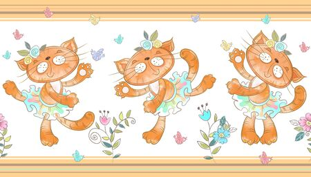Seamless border. Funny cats dancing Vector