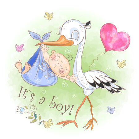 Stork flies with baby boy. Baby shower. Postcard for the birth of a baby. Vector. Watercolor Standard-Bild - 128823688