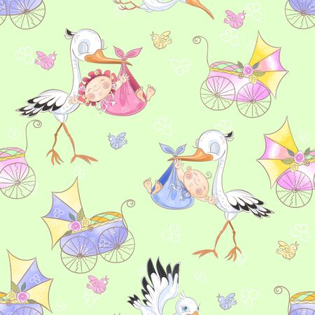 Seamless pattern for the birth of a child. Stork with baby. Vector Standard-Bild - 128823983
