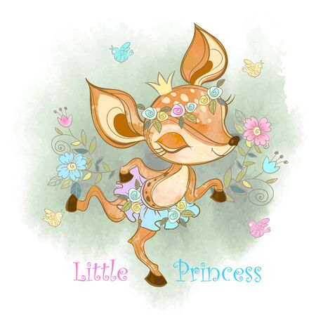 Little princess. Cute fawn girl Vector Çizim