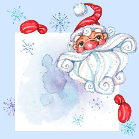 Sign postcard with Santa Claus. Space for text. Watercolor. Vector 写真素材