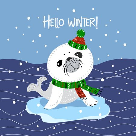 Cute little Belek . Baby seal in a knitted hat and scarf. Hello winter. Lettering. Vector.