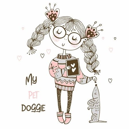 Girl in a sweater playing with a dog the Dachshund. Vector