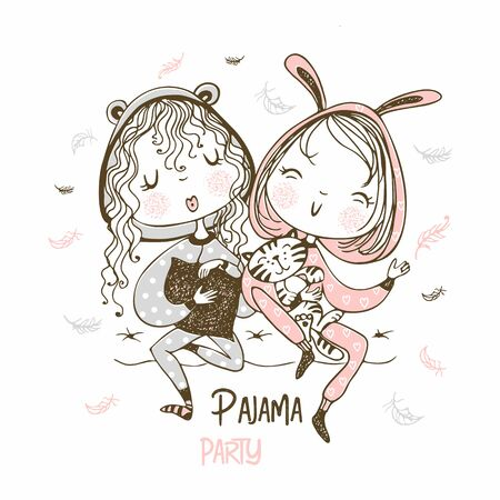 Cute girls in pajamas have fun at a pajama party. Vector.